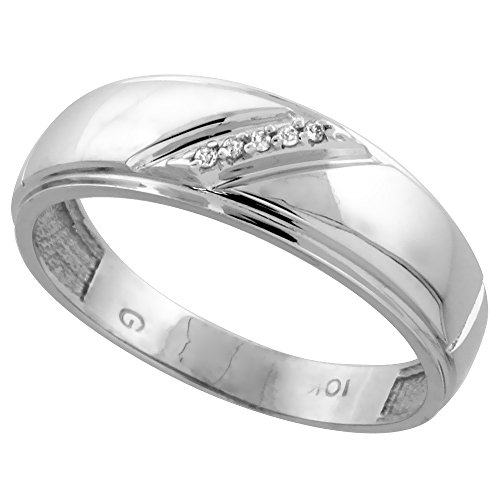 Silver City Jewelry 10k White Gold Mens Diamond Wedding Band Ring 0.03 cttw Brilliant Cut, 1/4 inch 7mm wide, Size 9