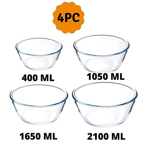 Femora Borosilicate Glass Round Mixing Bowl 400ml,1050ml,1650ml, 2100ml, Set of 4 Price & Reviews
