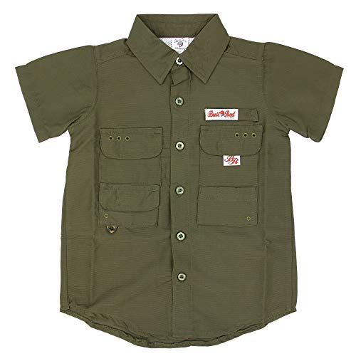 BullRed Toddlers Green PFG Vented Fishing Shirt Button Up, 4T