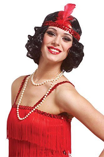Costume Culture Women's Curly Flapper Wig with Sequin Headband