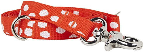 Waggo Speck-tacular Leash - Red - Small - 5 ft x 5/8 inch