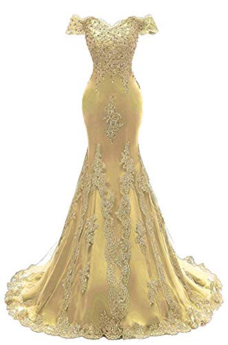 Scarisee Women's Mermaid Off Shoulder Evening Prom Dresses Lace Appliqued Beaded Formal Party Gowns Gold Custom Size