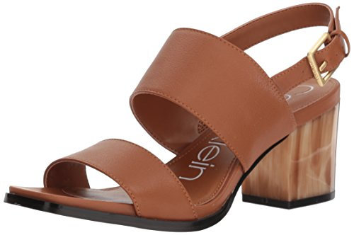 Womens Rosemary - Calvin Klein Women's Rosemary Heeled Sandal, Cognac, 7.5 Medium US