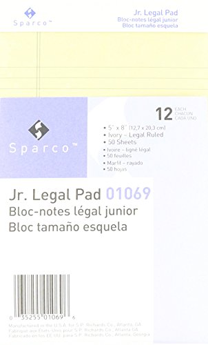 (Sparco Colored Pad, Jr. Legal Rule, 50 Sheets, 5 x 8 Inches, Ivory (SPR01069), Pack of 12)