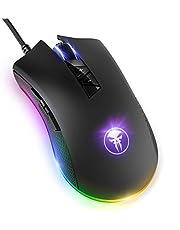 Yocktec RGB Retroiluminación Ratón Gaming Óptico, 8 Botones Programables Profesional Cableado Ratones Gaming Ergonómico con 4 dpi Adjustable, Definición de la Macro para Ordenador Portátil PC