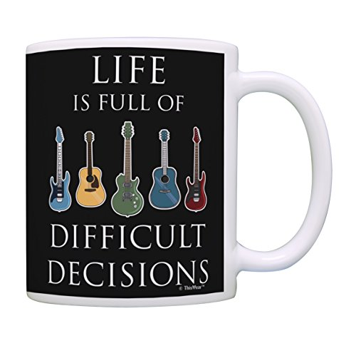Music Lovers Gifts Life is Full of Difficult Decisions Guitar Mug Music Teacher Mug Music Themed Gift for Women Music Related Gifts Rock Gifts for Men Gift Coffee Mug Tea Cup Multi