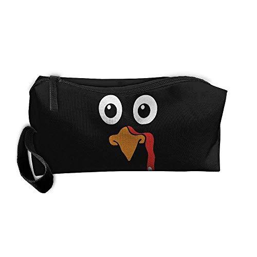 - Turkey Face Cosmetic Bags Brush Pouch Makeup Bag Zipper Wallet Hangbag Pen Organizer Carry Case Wristlet Holder