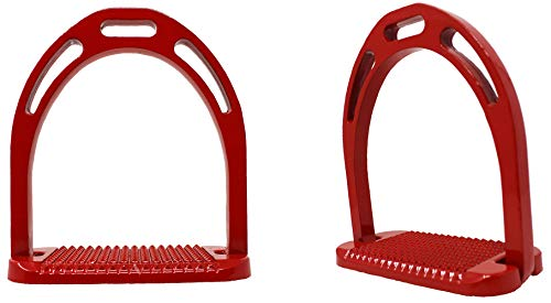 PRORIDER Horse Riding Saddle English Iron Stirrups 4-3/4″ Wide Red 51114R