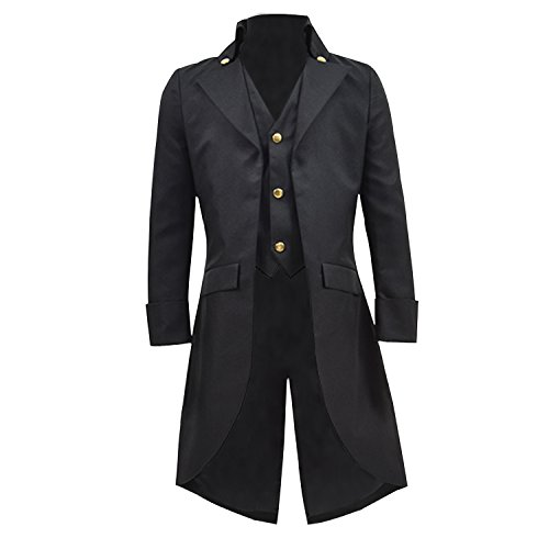 (COSSKY Boys Gothic Tailcoat Jacket Steampunk Long Coat Halloween Costume (Black,)