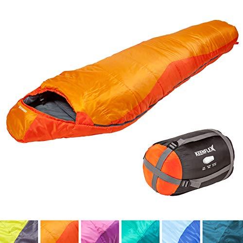 KeenFlex Schlafsack – 3 Jahreszeiten -5℃ + 15℃ – Hochentwickeltes Wärmeregulierungssystem – Mumienschlafsack Ideal für…