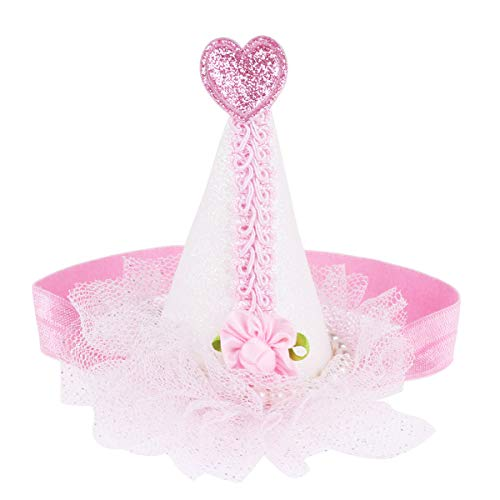 iiniim Glittery Flower Lace Cone Shaped Party Hats for Kids Baby Birthday Part Supplies Halloween Headband Hair Accessories Pink One Size