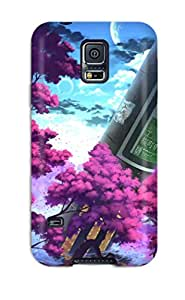 Galaxy Case - Tpu Case Protective For Galaxy S5- Original Art Two Cherry Trees Nature Sky Boy Girl Roots Clouds Sky Moon Anime Blossoms