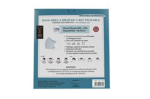 """41TdXU7l5jL Mascarilla higiénica reutilizable certificada y homologada con normativa UNE0065:2020. Certificada por ITEL (Instituto Técnico Español de Limpieza). Eficacia de filtración >93% (""""Ensayo BFE"""") y de Respirabilidad >46 Pa/cm2 (Presión diferencial). Tejido hidrofobo y anti bacteriano. Mascarilla compuesta en un 65% algodon, 35% polyester, lavable (hasta 20 lavados a 60 grados con jabon neutro), cómoda y segura"""