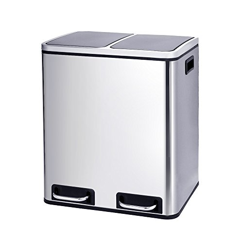 Inner Bins - Kitchen Trash Can Dual Compartments, Recycle Sorter Bin With Double Inner Buckets, Step Trash Can With Double Removable Inner Buckets, Brushed Stainless Steel, 30L/8 Gallon
