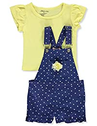 Colette Lilly Girls' Polka Dot 2-Piece Shortalls Set Outfit