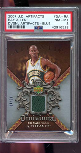 2007-08 Upper Deck Artifacts Divisional Authentic Patch Blue Ray Allen 34/50 Game Used Game Worn Jersey PSA 8 Graded NBA Basketball Card ()