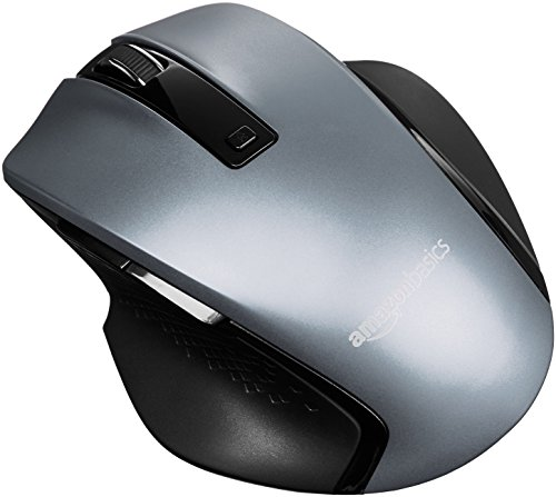 AmazonBasics Compact Ergonomic Wireless PC Mouse with Fast Scrolling - Silver