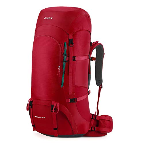 Gonex 70L/80L Internal Frame Backpack for Backpacking Hiking Traveling Mountaineering Rain Cover Included Red