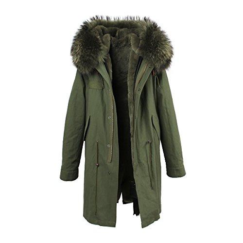 Parka XXL cuello de auténtica piel 100% pelo auténtico chaqueta abrigo caqui, en 8colores Caqui