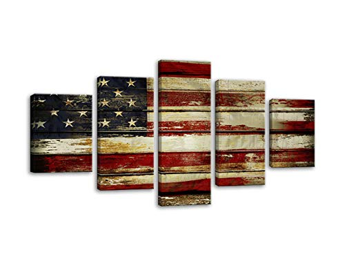 AMEMNY Vintage Wooden Style American Flag Independence Day Canvas Wall Art Painting 5 Panel Modern Posters and Prints Pictures for Living Room, Home Decor USA Flag Framed Ready to Hang