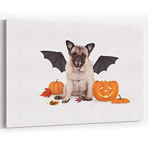 Pug Dog Dressed up as bat for Halloween Canvas Art Wall Dcor,Painting Wall Art Print on -