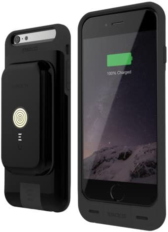 iPhone 66S Stack Pack (Black) Magnetic Wireless Charging Receiver Case, Removeable Battery Pack, Wall Charger