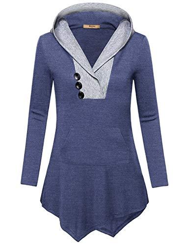 Miusey Long Sleeve Maternity for Women, Feminine Ladies Kangaroo Hoodie Irregular Hem Loose Fit Sweater Flows Hem Leisure Chic Color Large Outwear for Teens Blue L
