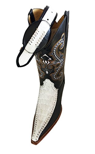 FREE COMBINATION BOOTS COWBOY COLOR CROCODILE MENS LEATHER White WESTERN BELT PRINT Black q8HwRAZSx