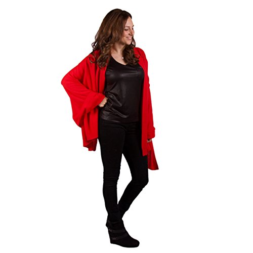 100% Cashmere Wrap ''Paris'' Classic Luxury Hot Red 72''x36'' Wrap by Lucky Bird Cashmere