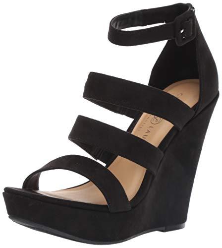 (Chinese Laundry Women's MANEEYA Wedge Sandal Black Suede 7 M US)