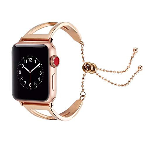 Simple & Chic Bracelet for Apple Watch, CRAZY PANDA iWatch New Hollowed-Out Geometric Band Stainless Steel Metal Strap for Apple Watch Series 4/3/2/1 42mm & 44mm - Champagne Gold