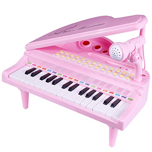 ANTAPRCIS 31 Keys Piano Toys for Girls, Electronic Keyboard Musical Toy Set with Microphone Light and Song, Learn-to-Play for Kids Toddlers Singing Development, Audio Link with Mobile MP3 Ipad, Pink