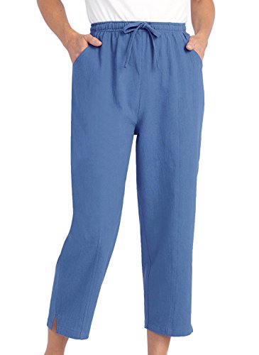 Drawstring Capri Pants with Pockets for Women, Color Blue, Size Extra Large (2X), Blue, Size Extra Large (2X) ()