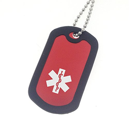 Red Medical ID Dog Tag Necklace - Heart Patient
