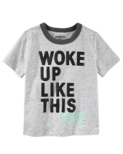 Osh Kosh Boys' Kids Graphic Tees, Grey Woke Up Up, 6 - Oshkosh B Gosh Children's Clothing