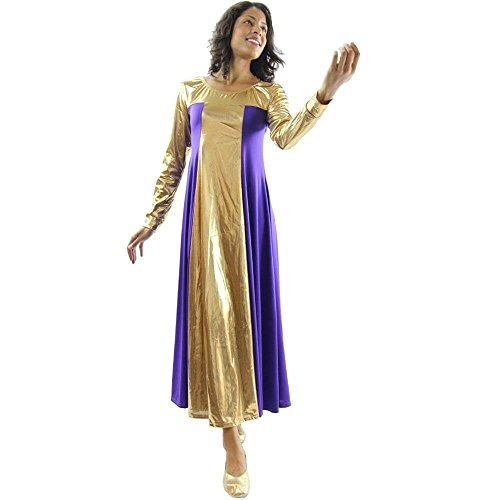 Danzcue Womens Metallic Color Block Long Sleeve Praise Dance Dress, Deep Purple-Gold, 3XL - Gold Colour Block