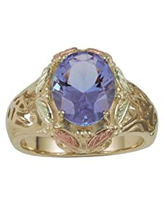 3.60 Ct Mount St. Helens 10k Yellow Gold Ring with 12k Green and Rose Gold, Cut Out Scrollwork on Side of Band Ring, Size 9