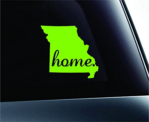 ExpressDecor Home State Missouri Symbol Decal Family Love Car Truck Sticker Window (Lime Green)