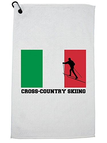 Hollywood Thread Italy Olympic - Cross-Country Skiing - Flag - Silhouette Golf Towel with Carabiner Clip by Hollywood Thread