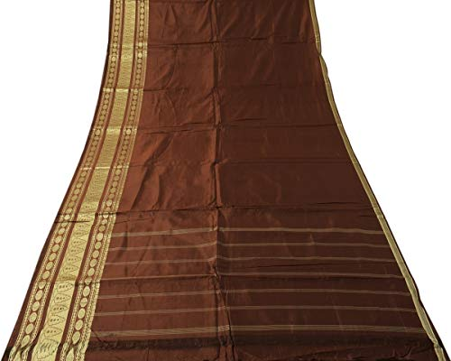 Vintage Indian Saree 100% Pure Silk Woven Silk Brocade Border Sari - Silk Border Brocade