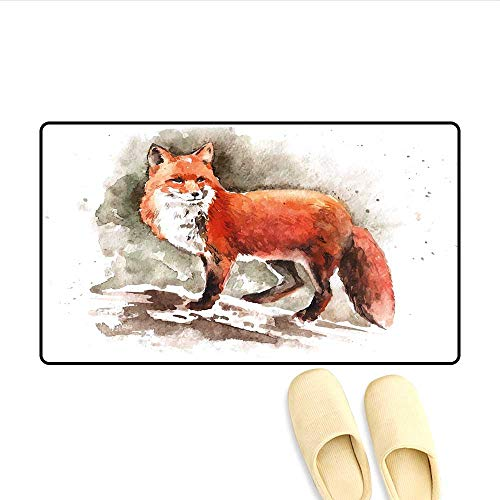 Bath Mat Watercolor Hand Drawn Red Fox with Bushy Tail Brushstrokes Tod Mammal Door Mat Small Rug Burnt Sienna White Brown 16