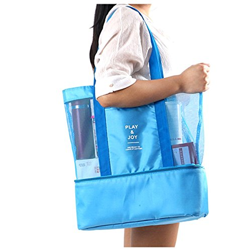 Beach Picnic Tote Bag - Mesh Beach Bag, Insulated Picnic Tote Bag Large with Zipper,Cooler Lunch Box with Mesh Travel Sports Beach Carry Organizer Shoulder Bag for Women(Sky Blue)