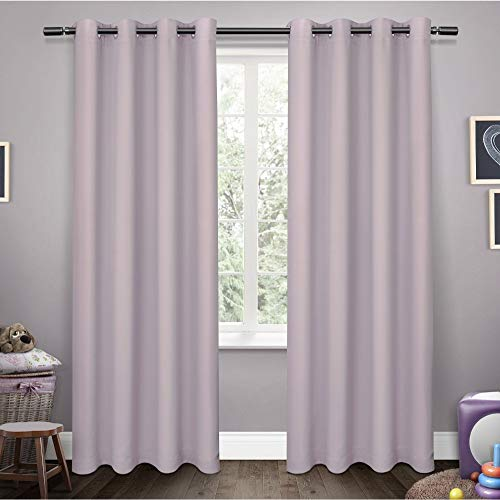 (Exclusive Home Sateen Twill Woven Blackout Grommet Top Curtain Panel Pair, Lilac, 52x63)