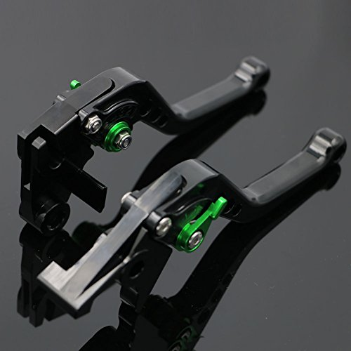 Alpha Rider CNC Motorcycle 6 Position Shorty Brake Clutch Levers For Kawasaki ZX9R 2000-2003 ZX10R 2004-2005 ZX6R / ZX636R / ZX6RR 2000-2004 ZX12R 2000-2005 ZZR600 2005-2009 Z1000 2003-2006 Green by Alpha Rider