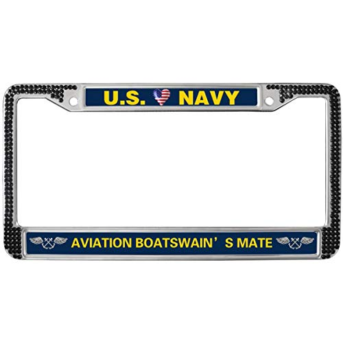 GND Proud US Navy Crystals Metal Black License Plate Frame,Aviation Boatswain Mate License Plate Frame Rhinestones Black Crystal Stainless Steel License Plate Holder Fit US Cars ()