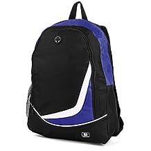 """SumacLife Multiple Nylon Athletic Ultra-Lightweight Sport Backpack / Shoulder Bag / School Backpack / Trave Bag / Laptop Bag Fits 14"""" 15"""" inch(Blue/Black)"""