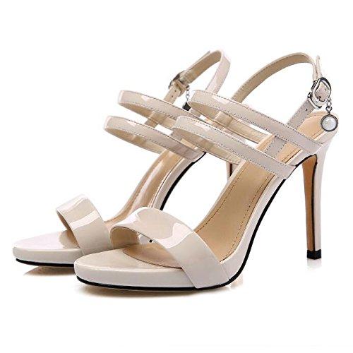 Mesdames Été Simple Mode Stiletto Plate-Forme Peep-Toe Cheville Sangle Talons Hauts Sandales Boucle Travail Show Party Soirée Chaussures,Beige-35