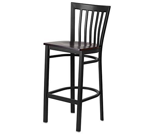(Office Home Furniture Premium Series Black School House Back Metal Restaurant Barstool - Walnut Wood Seat)