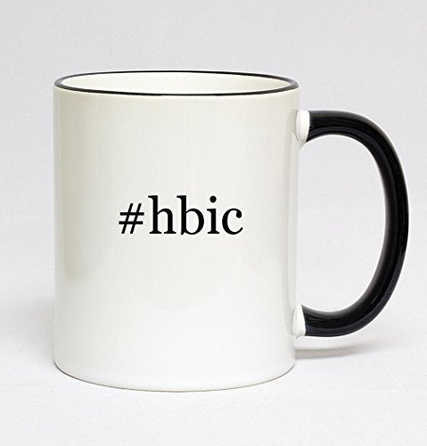 #hbic - 11oz Hashtag Colored Rim & Handle Sturdy Ceramic Coffee Cup Mug, Black
