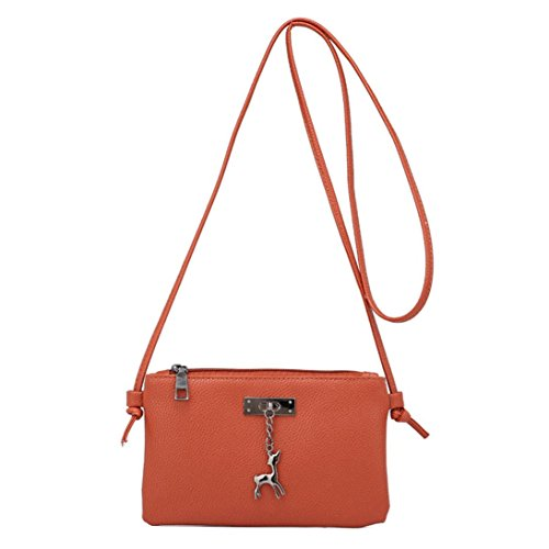 Shoulder Small Handbags Purses Messenger Womens Bags Bag Inkach Crossbody Brown Deer Coin Leather xqwt1P0vP